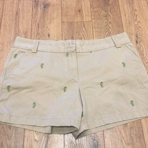 J. Crew Factory Khaki Shorts With Green Seahorses